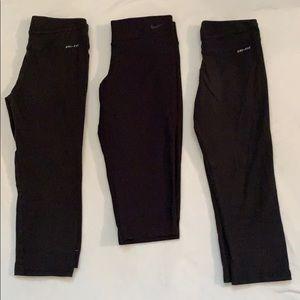 Girl's Nike Leggings Capri Size Medium Bundle of 3